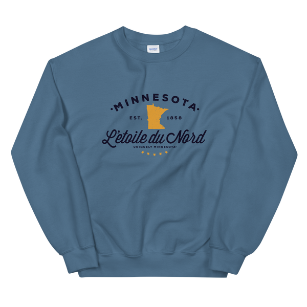 "Women's Minnesota L'etoile du Nord ""Star of the North"" state motto logo sweatshirt on indigo blue with black logo."
