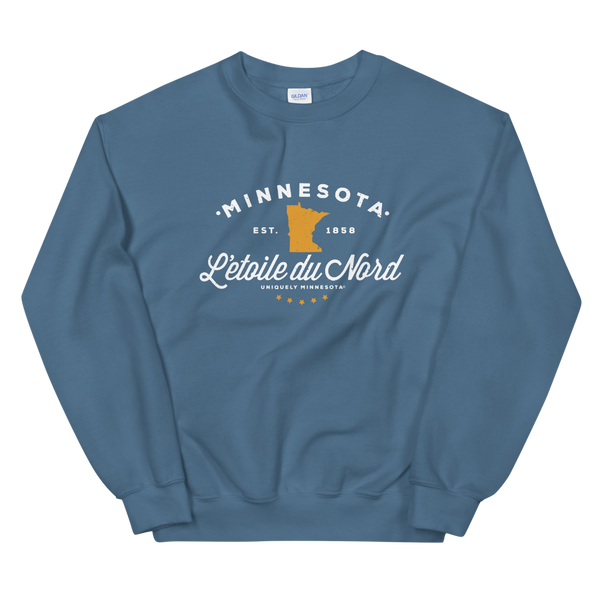 "Women's Minnesota L'etoile du Nord ""Star of the North"" state motto logo sweatshirt on indigo blue with white logo."