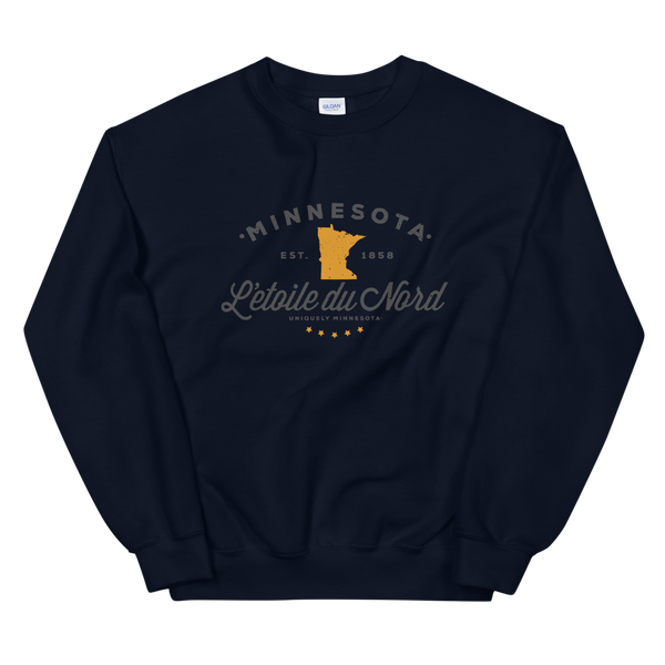 "Women's Minnesota L'etoile du Nord ""Star of the North"" state motto logo sweatshirt on navy with grey logo."