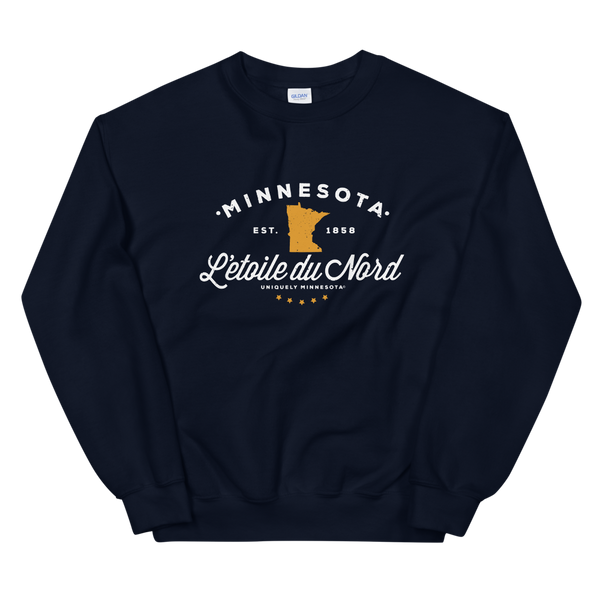 "Women's Minnesota L'etoile du Nord ""Star of the North"" state motto logo sweatshirt on navy with white logo."