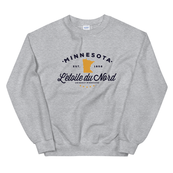 "Women's Minnesota L'etoile du Nord ""Star of the North"" state motto logo sweatshirt on sport grey with black logo."