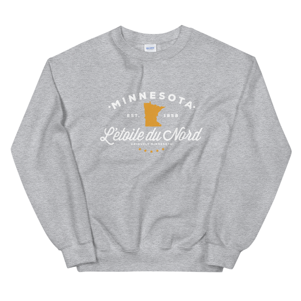 "Women's Minnesota L'etoile du Nord ""Star of the North"" state motto logo sweatshirt on sport grey with white logo."