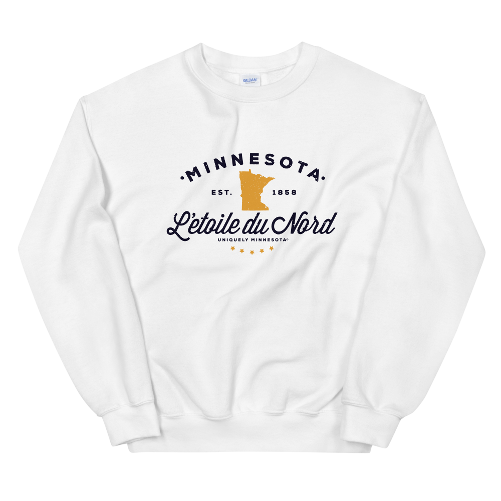 "Women's Minnesota L'etoile du Nord ""Star of the North"" state motto logo sweatshirt on white with black logo."