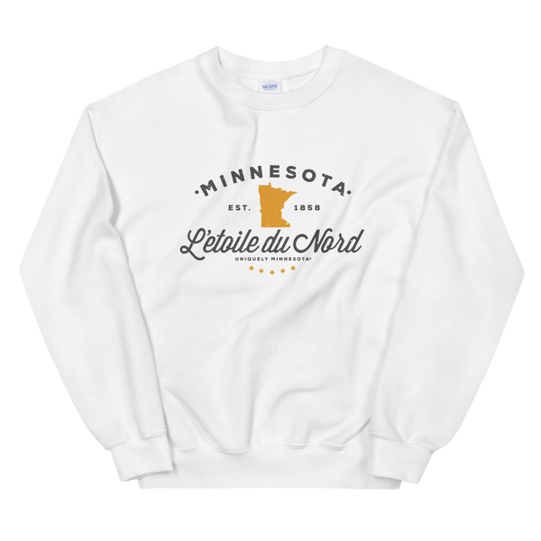"Women's Minnesota L'etoile du Nord ""Star of the North"" state motto logo sweatshirt on white with grey logo."