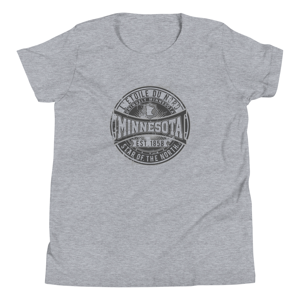 "Youth L'etoile du Nord ""Star of the North"" Distressed Emblem Minnesota state motto cotton tshirt on athletic heather grey with black logo."