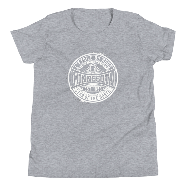 "Youth L'etoile du Nord ""Star of the North"" Distressed Emblem Minnesota state motto cotton tshirt on athletic heather grey with white logo."