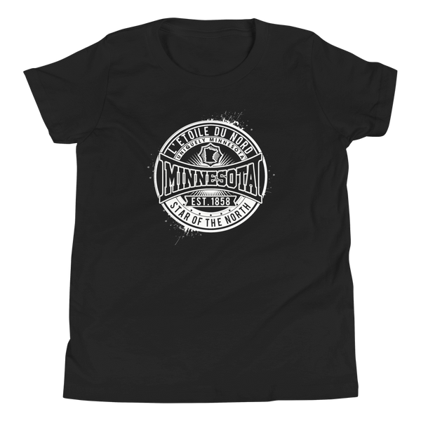 "Youth L'etoile du Nord ""Star of the North"" Distressed Emblem Minnesota state motto cotton tshirt on black with white logo."