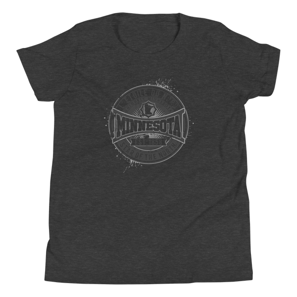 "Youth L'etoile du Nord ""Star of the North"" Distressed Emblem Minnesota state motto cotton tshirt on dark grey heather with black logo."