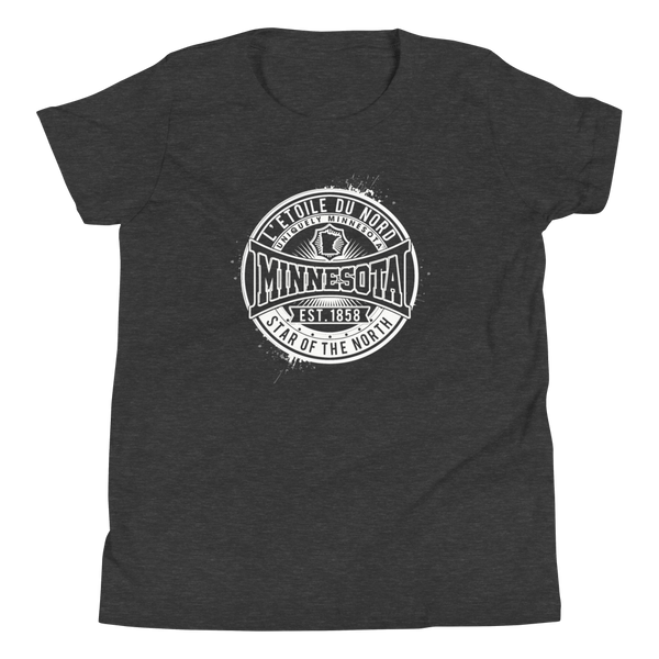 "Youth L'etoile du Nord ""Star of the North"" Distressed Emblem Minnesota state motto cotton tshirt on dark grey heather with white logo."