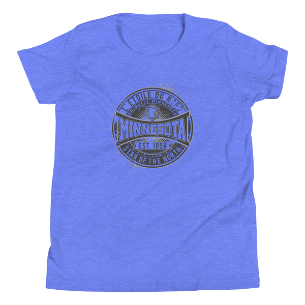 "Youth L'etoile du Nord ""Star of the North"" Distressed Emblem Minnesota state motto cotton tshirt on heather columbia blue with black logo."