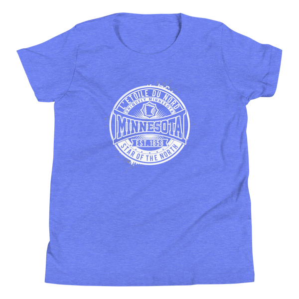 "Youth L'etoile du Nord ""Star of the North"" Distressed Emblem Minnesota state motto cotton tshirt on heather columbia blue with white logo."