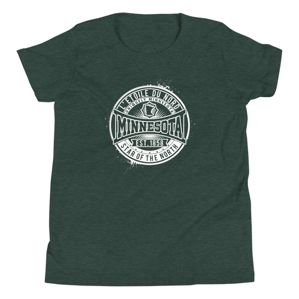 "Youth L'etoile du Nord ""Star of the North"" Distressed Emblem Minnesota state motto cotton tshirt on heather forest with white logo."