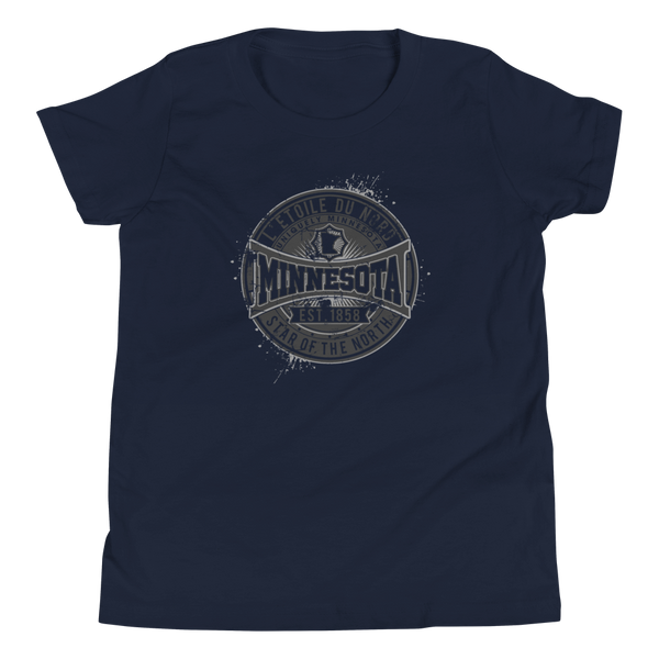 "Youth L'etoile du Nord ""Star of the North"" Distressed Emblem Minnesota state motto cotton tshirt on navy with black logo."