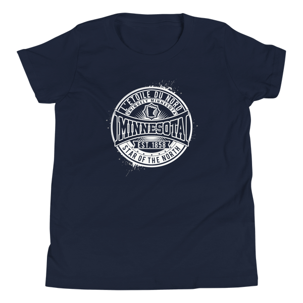 "Youth L'etoile du Nord ""Star of the North"" Distressed Emblem Minnesota state motto cotton tshirt on navy with white logo."