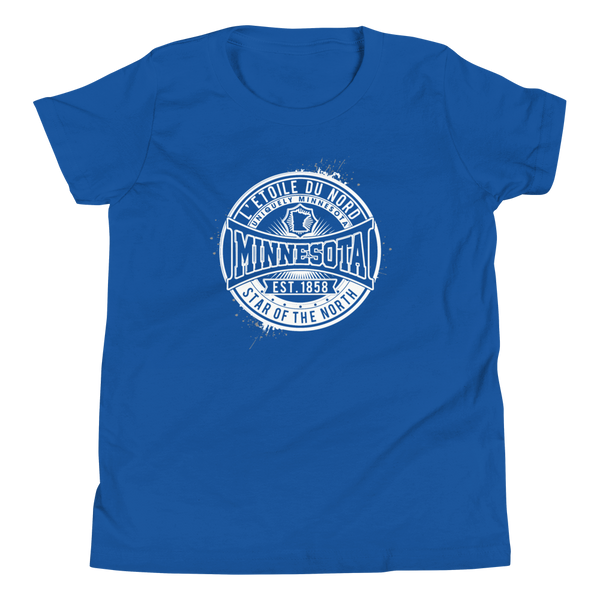 "Youth L'etoile du Nord ""Star of the North"" Distressed Emblem Minnesota state motto cotton tshirt on true royal with white logo."