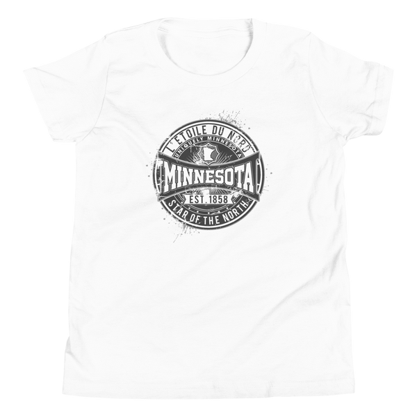 "Youth L'etoile du Nord ""Star of the North"" Distressed Emblem Minnesota state motto cotton tshirt on white with black logo."