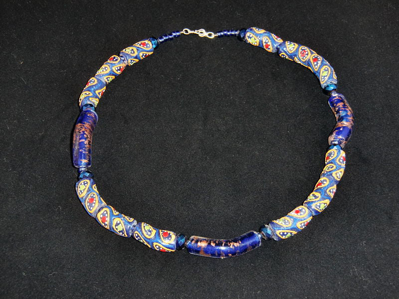 Bead & Stone Necklace - Blue Painted