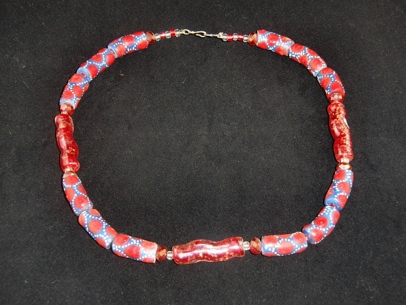 "Blue w/red dots painted on glass beads w/matching glass accents; on nylon wire; approx. 18"" long; w/screw clasp."