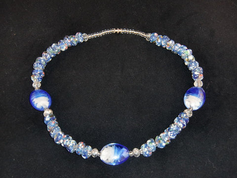 "Blue & white round stones w/matching glass accents; on nylon wire; approx. 18"" long; w/screw clasp."
