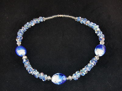Bead & Stone Necklace - Blue & White