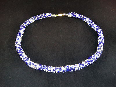 "Blue & white round stone necklaces; on nylon wire; approx. 22"" long; w/screw clasp."