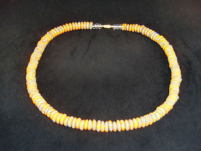 "Orange & grey round stone necklaces; on nylon wire; approx. 22"" long; w/screw clasp."