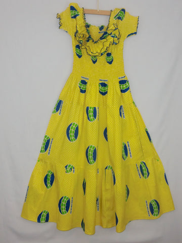 "FULL SIZE: Hi-Target wax print cloth bright yellow with blue &; green image; 'wo sere kyere me kwa'; hand-tailored, ruffled front; floor length A-line dress; w/elastic gathered bodice, armholes &; back; approx. 57""; long from shoulder to hem. STRETCHES TO FIT M-L-XL."