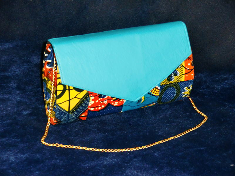 African Cloth Clutch Purse (Large) - Blue Leather Flap
