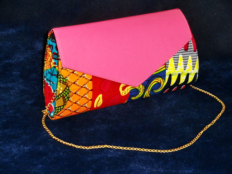 African Cloth Clutch Purse (Large) - Pink Leather Flap