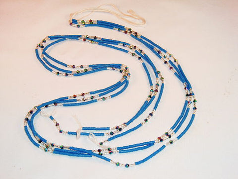 KROBO African Waist Beads - Blue w/White Accents