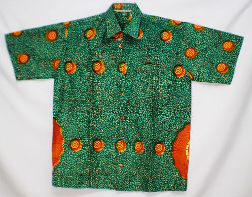 "LARGE - Green with yellow/red circles; short sleeves; chest up to 54"", length 34"", collar 19 1/2""; 1 left chest pocket. (measurements approximate)."