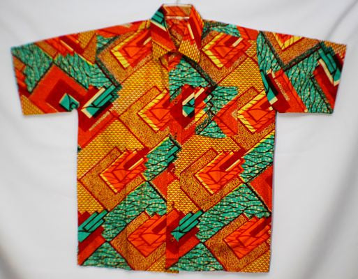 "LARGE - Yellow, red, orange and green angular pattern; short sleeves: chest up to 54"", length 34"", collar 19 1/2""; 1 left chest pocket. (measurements approximate)."