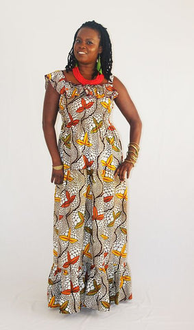African Print Girl's Maxi Sun Dress - 3 Leaf