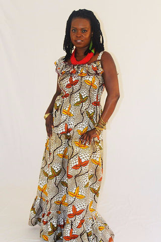 African Wax Print Maxi Sun Dress - 3 Leaf Cluster
