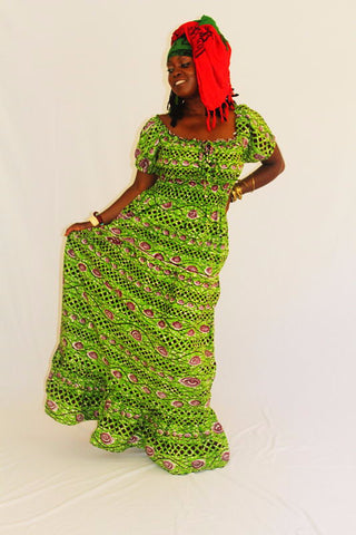 African Print Maxi Sun Dress - Prying Eyes