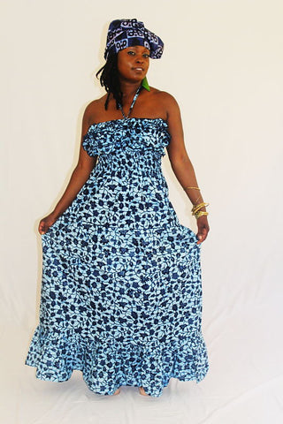 African Print Maxi Sun Dress - Blue Frehyia
