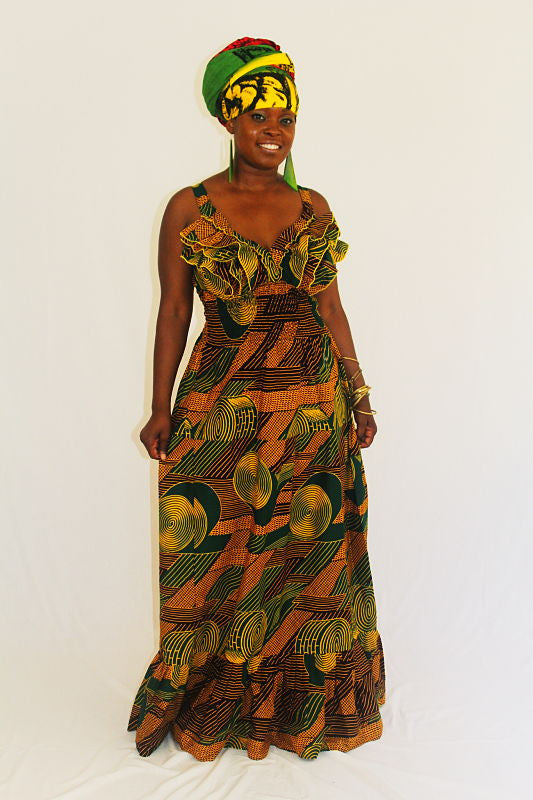 African Print Maxi Sun Dress - Green Swirls