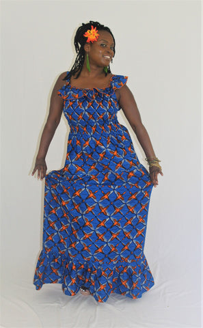 African Print Maxi Sun Dress - Orange Birds