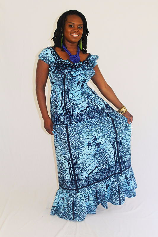 African Print Maxi Sun Dress - Blue Birds