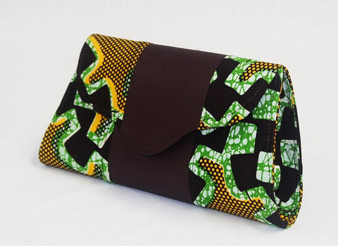 African Cloth Clutch Purse - Brown Leather Center