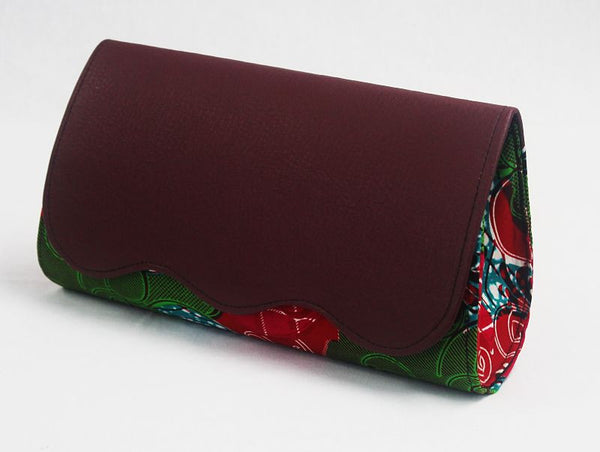 African Cloth Clutch Purse (Large) - Burgundy Leather Flap