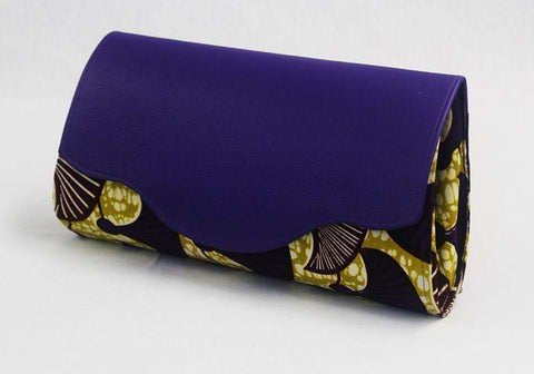 African Cloth Clutch Purse (Large) - Purple Leather Flap
