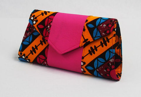 African Cloth Clutch Purse - Pink Leather V-Flap