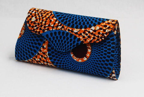 African Cloth Clutch Purse - Scallop Front