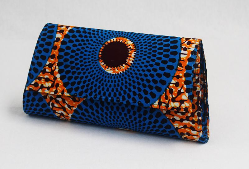African Cloth Clutch Purse - Blue Circles