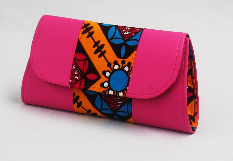 African Cloth Clutch Purse- Pink Leather Sides