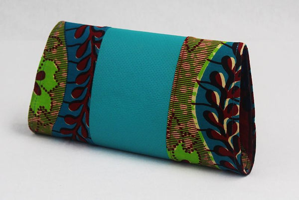 African Cloth Clutch Purse - Blue Leather Center
