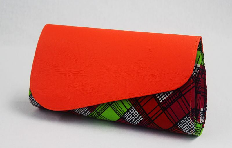 African Cloth Clutch Purse (Large) - Orange Leather Flap