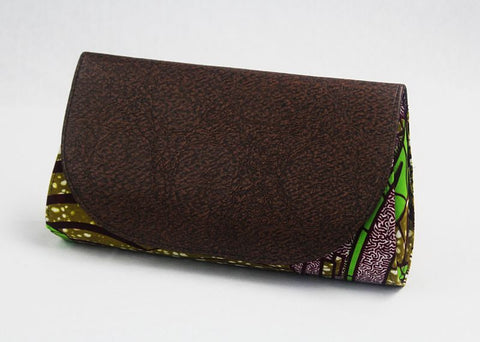 African Cloth Clutch Purse (Large) - Brown Leather Flap