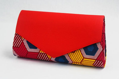 African Cloth Clutch Purse (Large) - Red Leather Flap